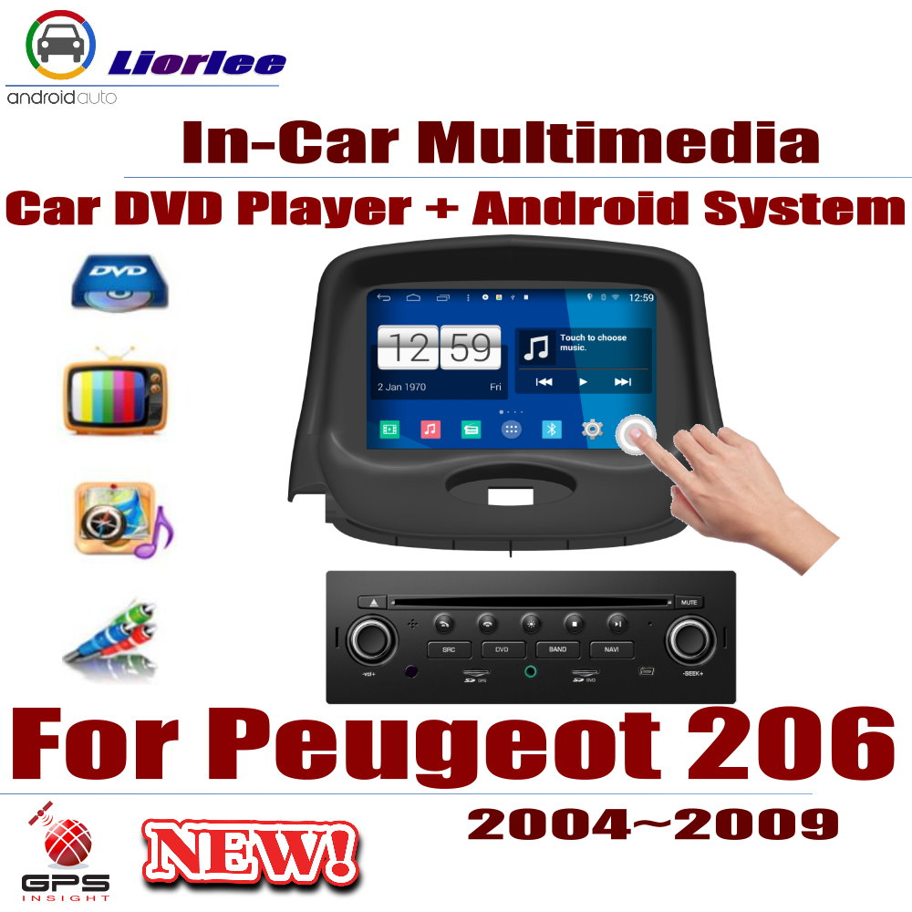 Car Radio DVD Player GPS Navigation For <font><b>Peugeot</b></font> <font><b>206</b></font> 2004~2009 <font><b>Android</b></font> HD Displayer System Audio Video Stereo In Dash Head Unit image