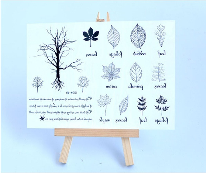 Tattoo stickers waterproof tattoos small leaves men and wome