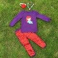 Новое поступление полный детской одежды девушка одежды русалка капри установить фиолетовый капри установить с ожерельем и повязка на голову