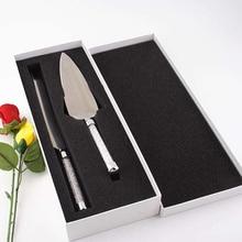 Набор ножей для свадебного торта из 2 предметов, серебряная Лопата для пиццы, элегантные столовые приборы из нержавеющей стали, акриловые, кристаллические, вечерние, подарок