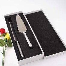 2pcs Wedding Cake Knife Server Set Silver Pizza Shovel Elegant Stainless Steel Cutlery Glasses Acrylic Crystalline Party Gift