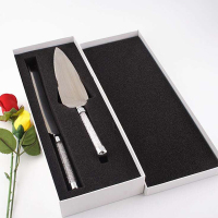 2pcs Wedding Cake Knife Server Set Silver Acrylic Pizza Shovel Elegant Stainless Steel Cutlery Glasses Crystalline Party Gift