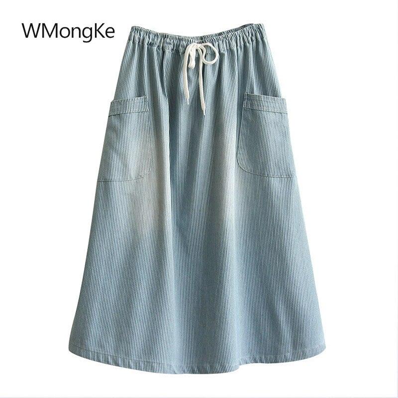 WMongKe WomenS Skirt Summer Loose Denim Skirt Mid-Calf Striped Pockets Skirts Elastic Waist Saia Faldas Mujer Moda 2018
