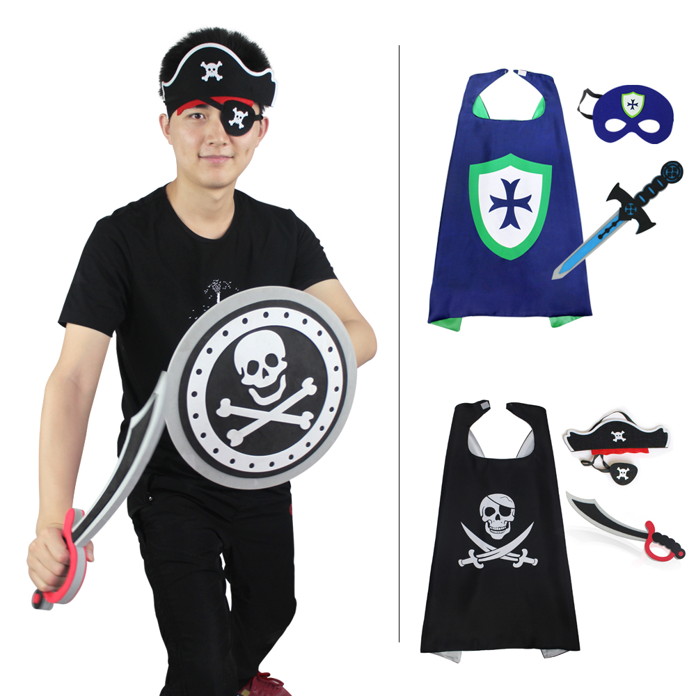 SPECIAL 70*70 cm Pirate Kid Costume Cape Mask Sword Decoration Knight Cosplay Cape Cloak Kids Pirate Toy Warrior Costume Kids