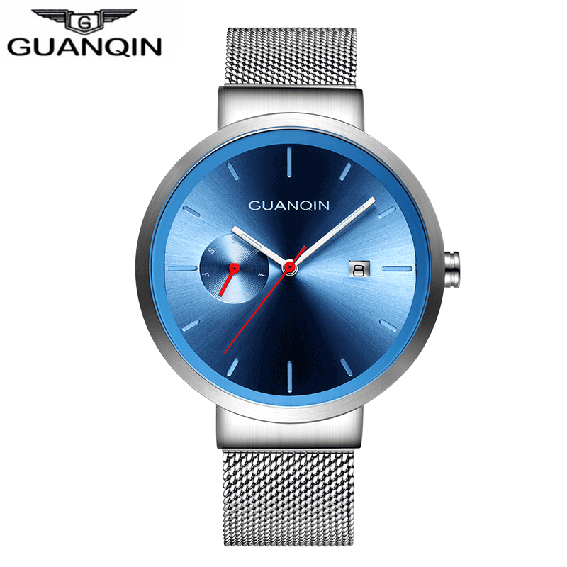 GUANQIN Mens Watches Top Brand Luxury Quartz Watch Hour Date Clock Fashion Casual Steel Watch Men Military Erkek Kol Saat fashion automatic mechanical watch luxury brand sewor watches skeleton military clock leather men casual erkek kol saatleri page 4
