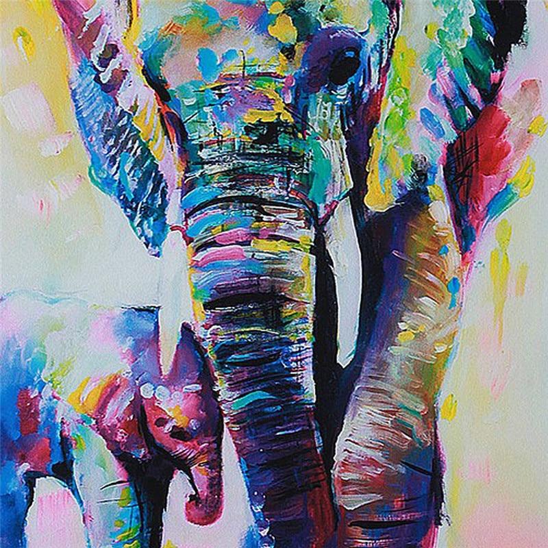 Unframed Cartoon Animal Elephant Son Oil Painting Abstract