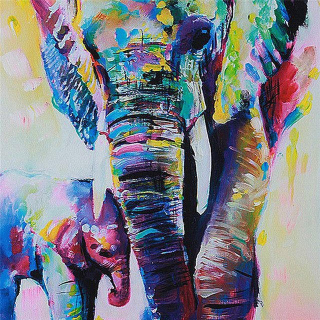 Unframed Cartoon Animal Elephant Son Oil Painting Abstract ...