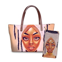 NOISYDESIGNS 2pcs/set Black Afro Girls Printing Handbags&Purse Women Travel Totes Ladies Top-Handle Bags for Female Shoulder Bag