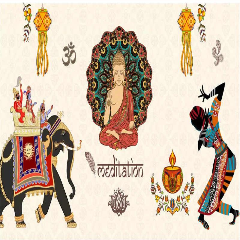 Asia Tenggara Thailand Gaya India Agama Buddha Patung Restoran Yoga Latar Belakang Lukisan Dinding Wallpaper