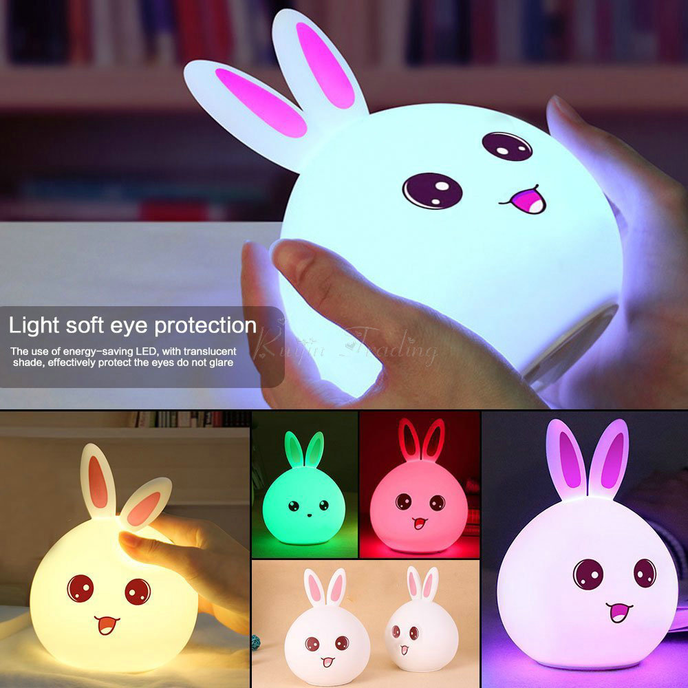 LED Kawaii Rabbit Panda Chicken Bear Silicone Baby Nursery Desk Lamp Touch Sensor Tap Control USB Rechargeable Night Table Light dolphin led children night light usb rechargeable silicone baby nursery lamp with sensitive tap control for girl lady kid baby