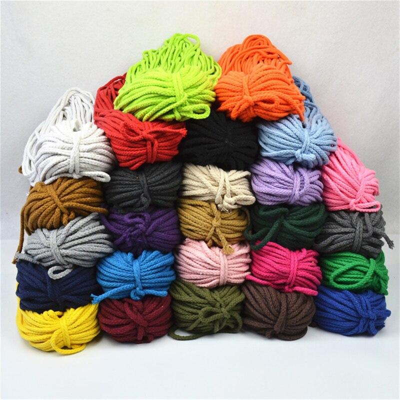 5mm * 100 yardas colorido blanco algodón cordón Natural Beige trenzado cuerda artesanal macramé cuerda DIY hogar decorativo suministro