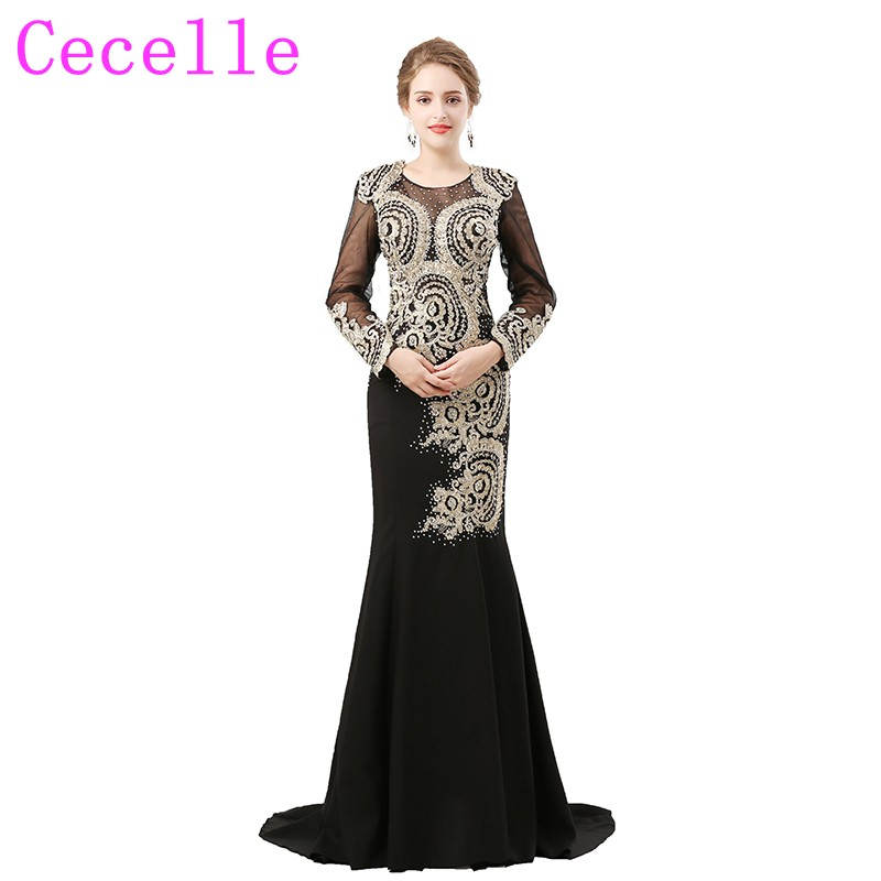 Zyllgf Evening Dress Long Sleeve Sheath O Neck Long Formal Black Cheap Evening Couture Dresses Embroidery Sale Online Q90 Weddings & Events