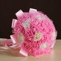 Wedding Bouquet de flores Artificiales de Seda de Novia Mano Que Sostiene Las Flores Accesorios Hechos A Mano de Color Rojo Rosa Blanco Nupcial
