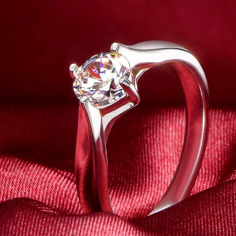 예쁜 0.5ct 5mm 라운드 컷 moissanite 결혼 반지 여성을위한 정품 925 스털링 실버 카드 놀이 반지 화이트 골드 컬러-에서반지부터 쥬얼리 및 액세서리 의  그룹 1