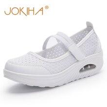 Купить с кэшбэком JOKIHA Summer Wedges Platform Shoes Women Solid Mesh Air Cushion Med Heels Sneakers Shoes For Women Ladies Health Walking Shoes