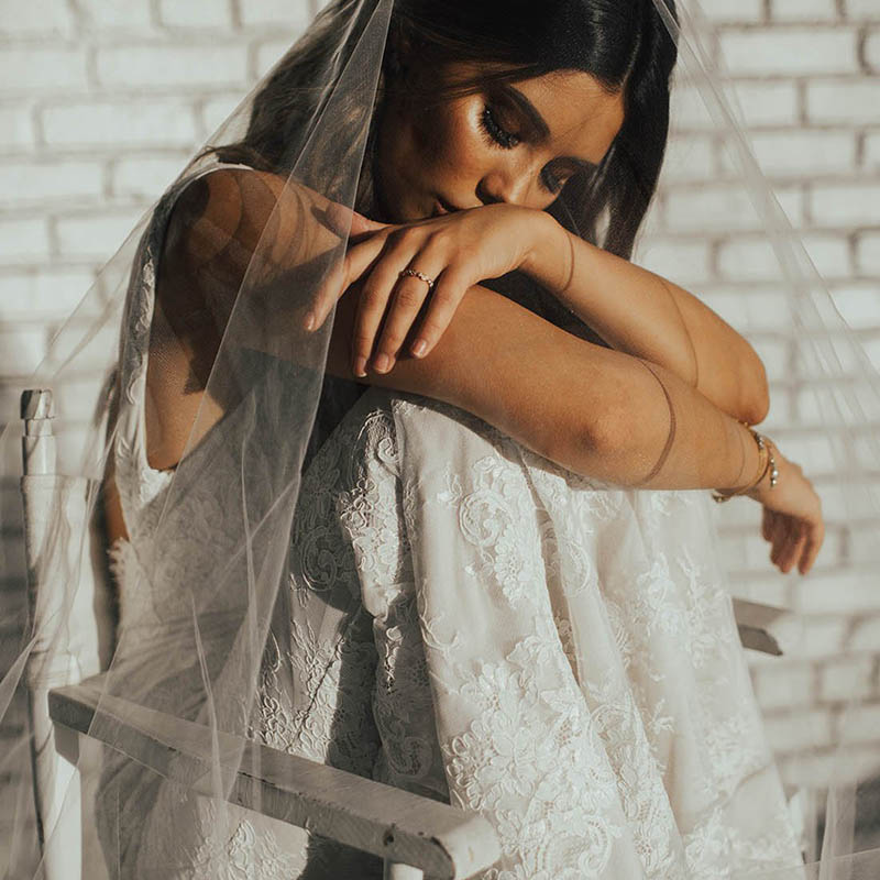 Image 2 - LORIE Lace Mermaid Wedding Dress Sexy V Neck Bride Dress Open Back Robe de soiree Elegant Boho Wedding Gowns 2019-in Wedding Dresses from Weddings & Events
