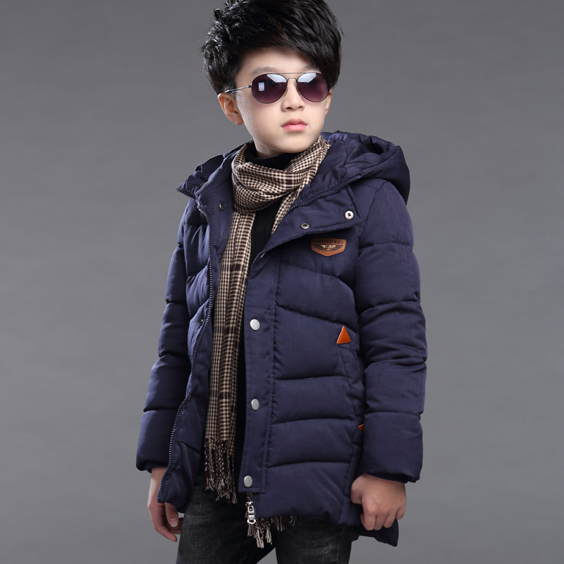 Winter Jackets Boys 2016 High Quality Casual Coats Children Down Jacket Cotton Hooded Zipper New Men'S Boys Kids Outerwear Long high quality children down coats 2017