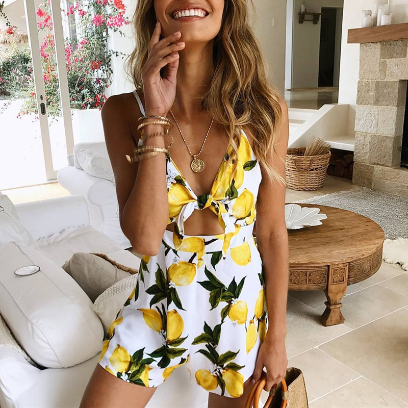 Danjeaner Sexy Backless Lace Up Floral Print Rompers Jumpsuit Women Off Shoulder Overalls Lady Casual Boho Beach Playsuits