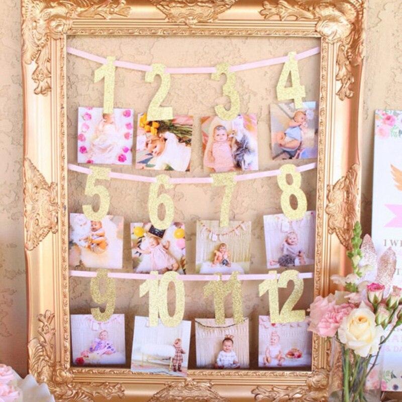 Gole/розовый Milestone фото баннер для мальчиков и девочек 1-12 месяцев Фото овсянка гирлянды Baby Shower 1st первый День рождения аксессуары ...