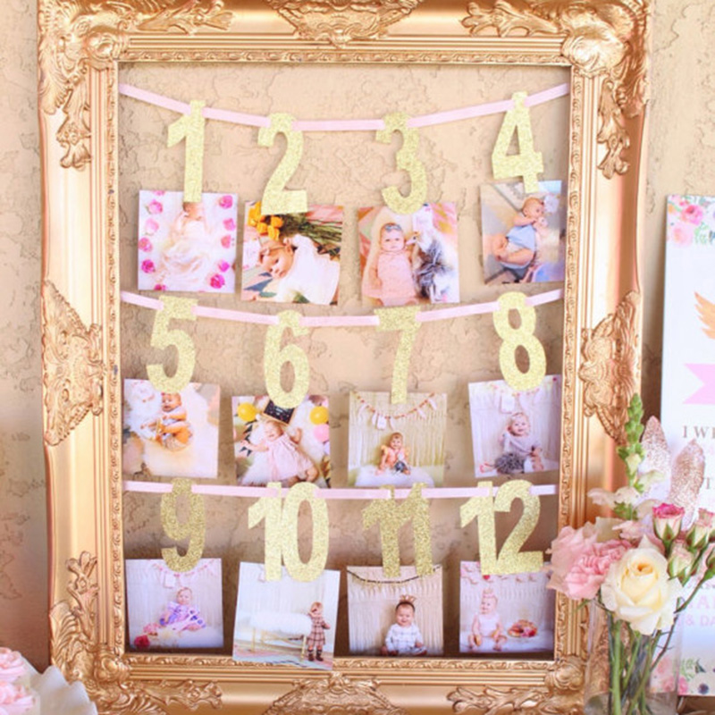 Gole/Pink Milestone Photo Banner Boy Girl 1-12 Month Photo Bunting Garland Baby Shower 1st First Birthday Party Decorations