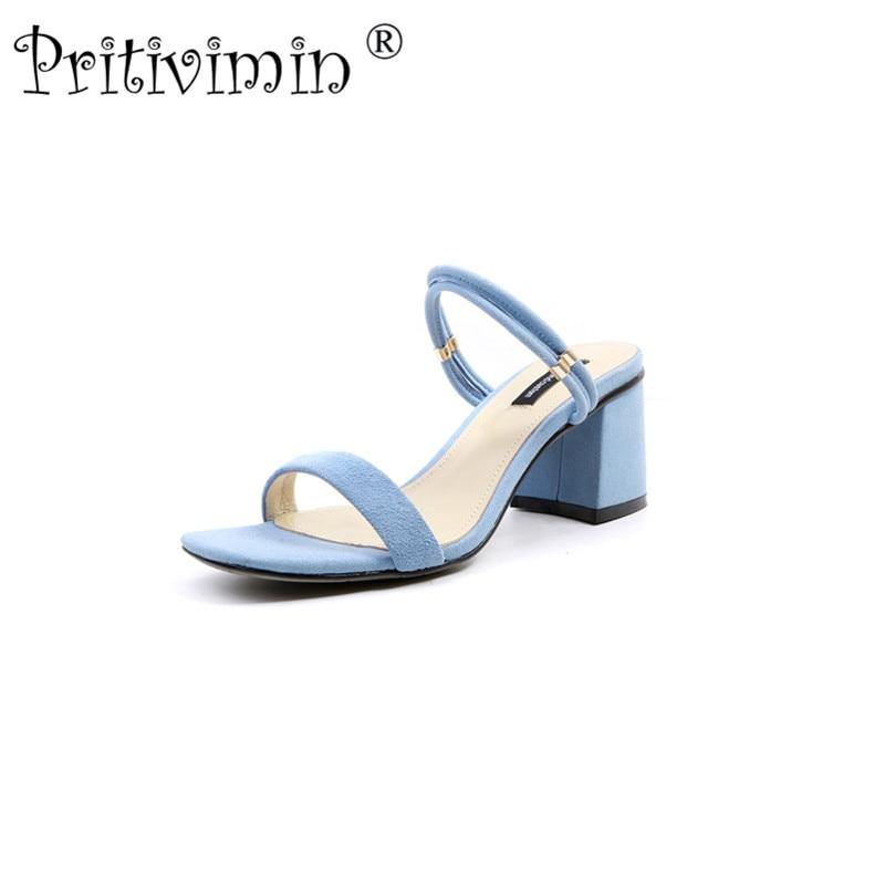 Pritivimin FN187 sommer sandaler lægger kid suede tykke høje hæle - Damesko