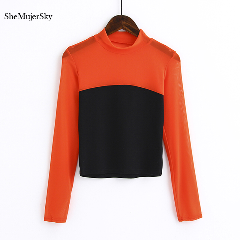 SheMujerSky Women Blusa Transparente Spliced Black Blouse Long Sleeve O Neck Red Tops Camisa Feminina Manga