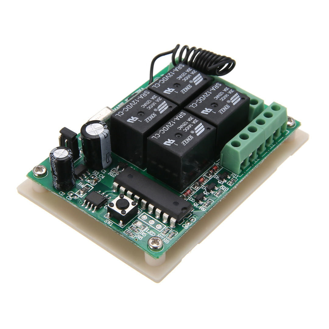 4pcs DC 12V Self-locking Romote Controller HCS301 433MHz Rolling Code Remote Control+12V Wireless Relay Receiver For Car