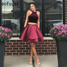 Elegant halter Short Homecoming Dress 2019 Tiered Off Shoulder Satin Prom For Girls Burgundy Party Gown Plus Size