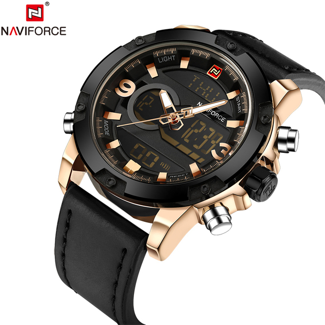 NAVIFORCE Original Luxury Brand Leather Quartz Watch Men Clock Digital LED Army