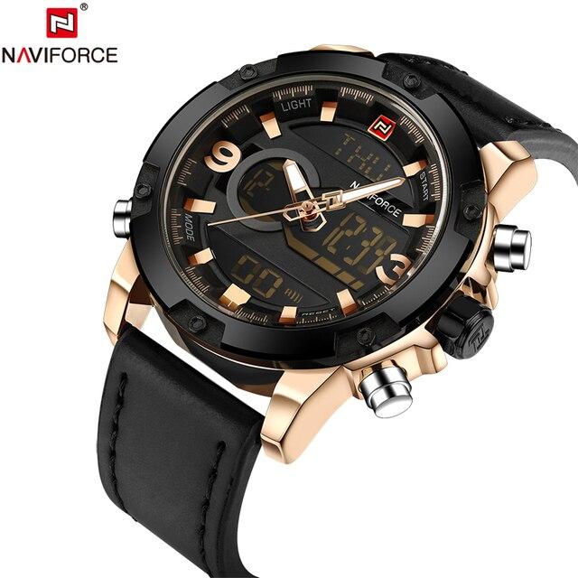 Naviforce Originale Luxury Brand Di Cuoio Uomini Della Vigilanza Del Quarzo Orol