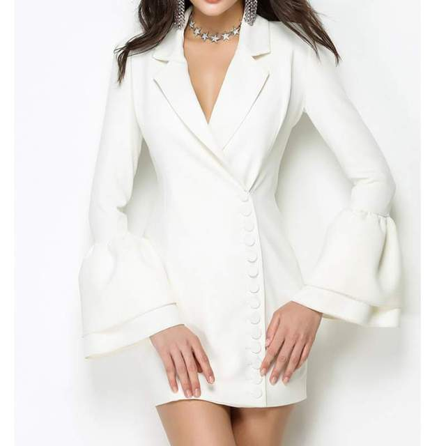 541f57ac7a6c7 Women white blazers Flare Sleeve Sexy Buttons business OL Office One Piece  suit jackets chaqueta americana mujer LT283s30