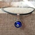 Turkish Evil Eye Necklace Crystal Charm Pendent Blue Kabbalah Jewish Fashion Jewelry Protector Men Woman Hand made