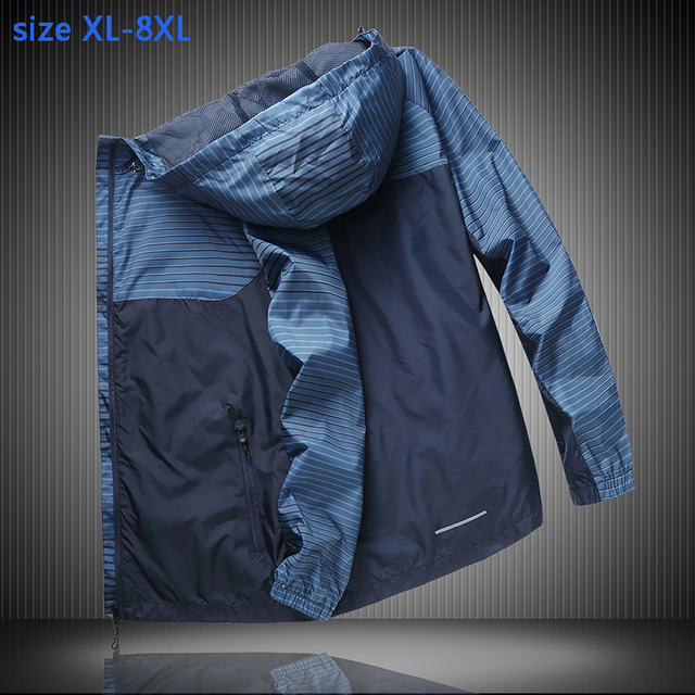 New Thin and breathable Jacket Men with hood fashion super large mens Windbreak casual plus size XL 2XL 3XL 4XL 5XL 6XL 7XL 8XL