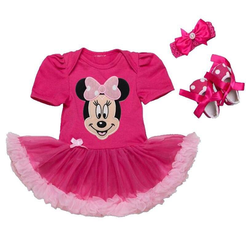 5a8c4b2ddda29 Paillettes brillantes Minnie bébé Fille vêtements dentelle barboteuse robe  bandeau chaussures nouveau né Tutu ensembles Vetement Bebe Fille vêtements  pour ...