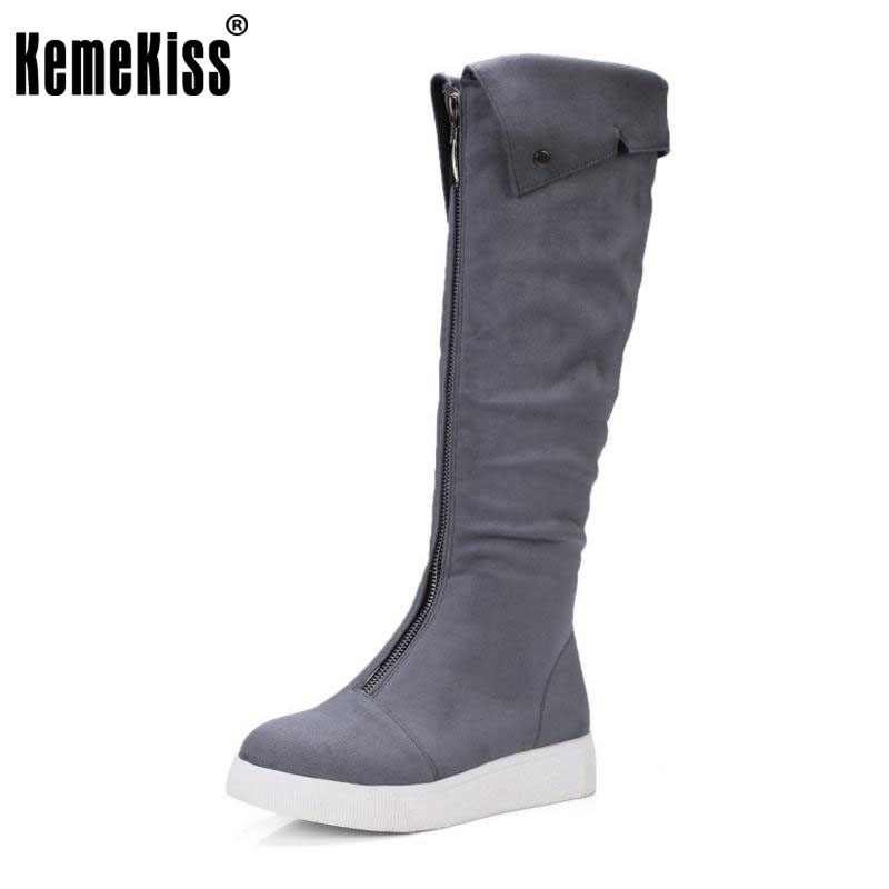 KemeKiss Size 32-43 Women Knee Flats Boots Zipper Warm Fur Boots Women For Cold Winter Warm Shoes Snow Botas For Woman Footwears