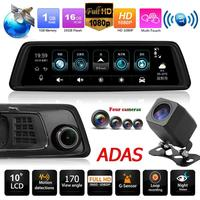 Phisung V9 9.88in IPS Touch Screen 4G SIM WiFi 1296P Car Rearview Mirror DVR Video Recorder GPS BT ADAS Dash Cam with 4 Cameras