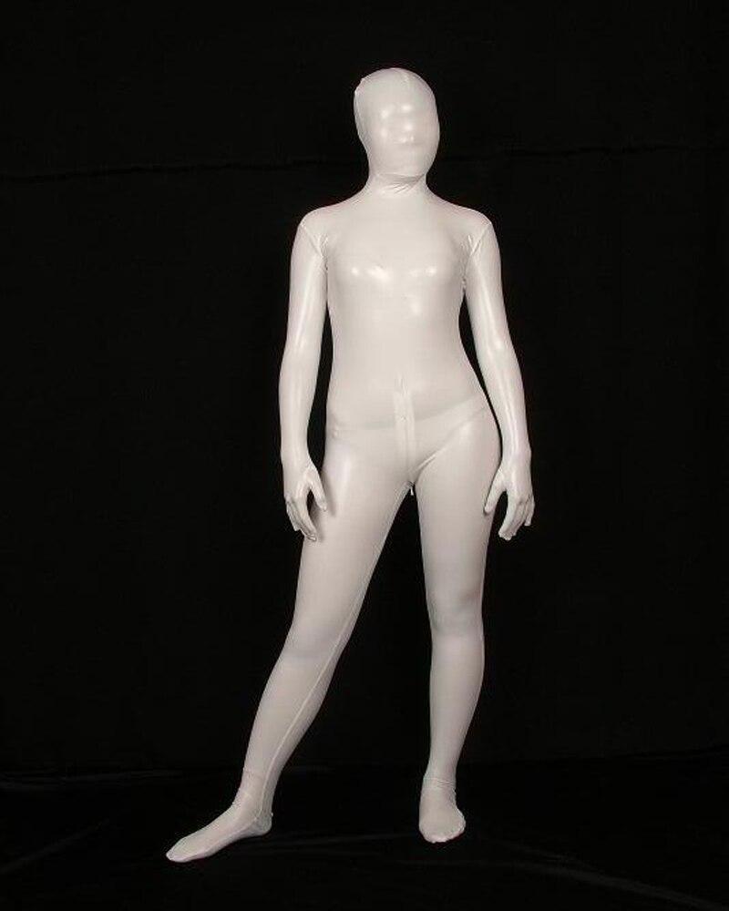 White Full Body Lycra Spandex Latex/Rubber Cos Zentai Suit Bodysuit Adult Costumes Fancy Dress