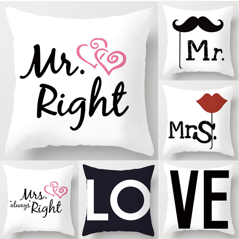 1Pcs Simple Love Mr Mrs Couples Cushion Cover Polyester Sweet Lovers Square Pillowcases Home Decor Pillow Cover 45*45cm 40824