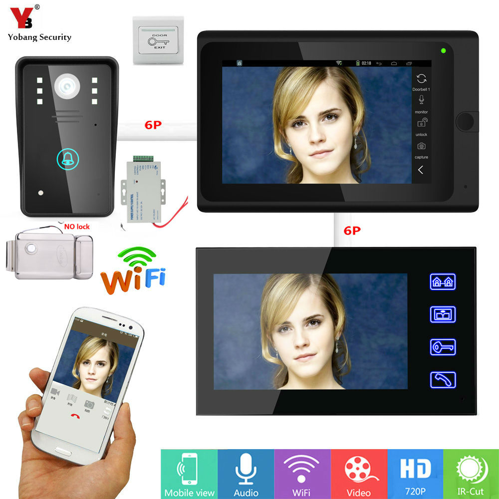 Yobang Security DHL 7inch 2 monitors Wired / Wireless Wifi IP Video Door Phone Doorbell Intercom Entry System with Wired Cam