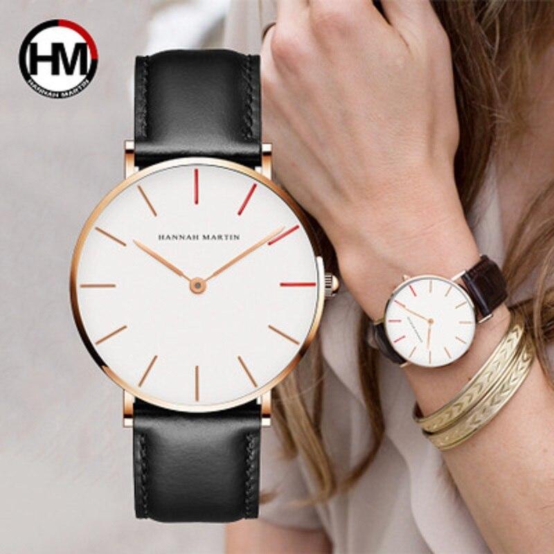 Hannah Martin relojes de cuarzo de los hombres de la moda de las mujeres reloj minimalismo elegante Casual de cuero resistente al agua reloj de pulsera relojes mujer 2018