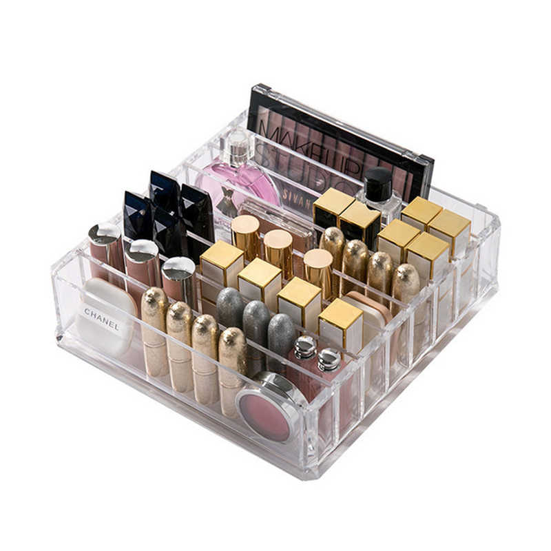Clear Acrylic Makeup Organizer Cosmetic Storage Box Eye Shadow Lipstick Holder Makeup Powder Organizer Jewelry Cosmetic Box