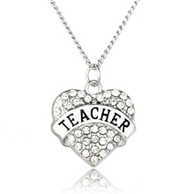 Cheap Fashion Jewelry Silver/Gold Color with Heart Shaped Rhinestone Chunky Long Pendant Necklace for Women Gift