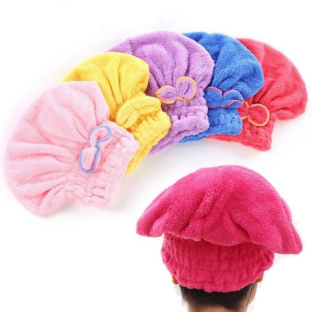 5 色カラフルなシャワーキャップラップタオルマイクロファイバーバスタオル帽子固体極細速乾性髪の帽子バスアクセサリー