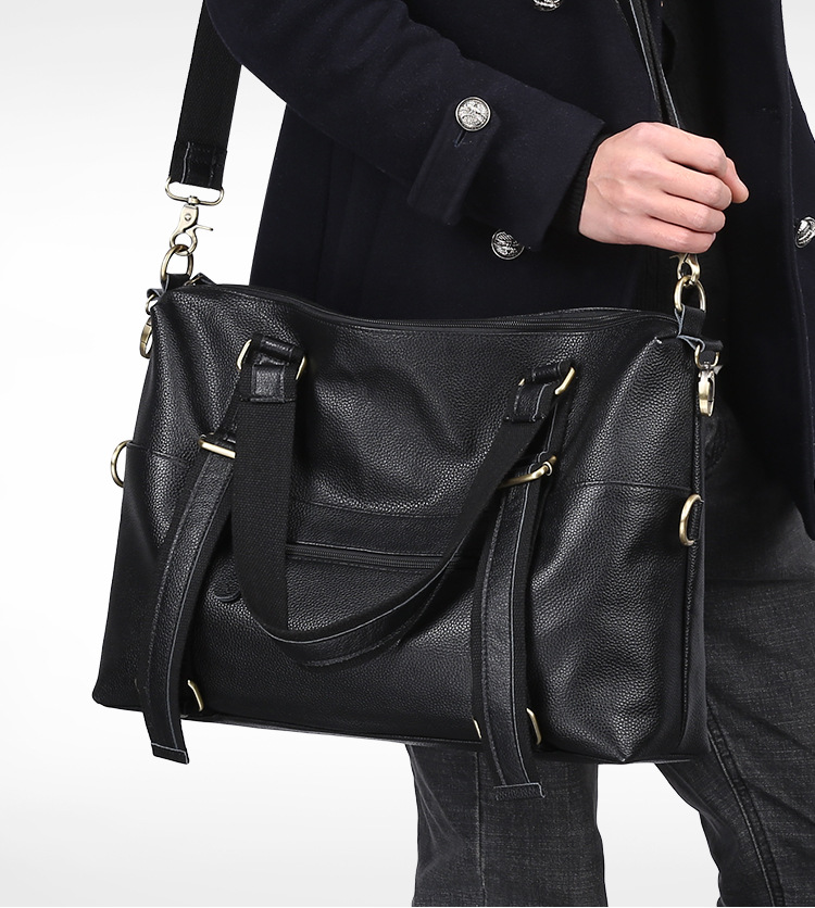 Genuine Leather Men Shoulder Bag Large Capacity Handbag Cowhide Crossbody Bag Tote Real Leather Business Men Messenger Bag men oil wax genuine leather cowhide handbag single shoulder messenger crossbody bag real cowhide purse famous male tote handbags