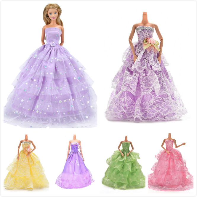 Elegant Doll Dress Clothes Clothing Elegant Lace Multi Layers Wedding Dress For Barbie For  Doll Luxury Floral Dolls Accessories
