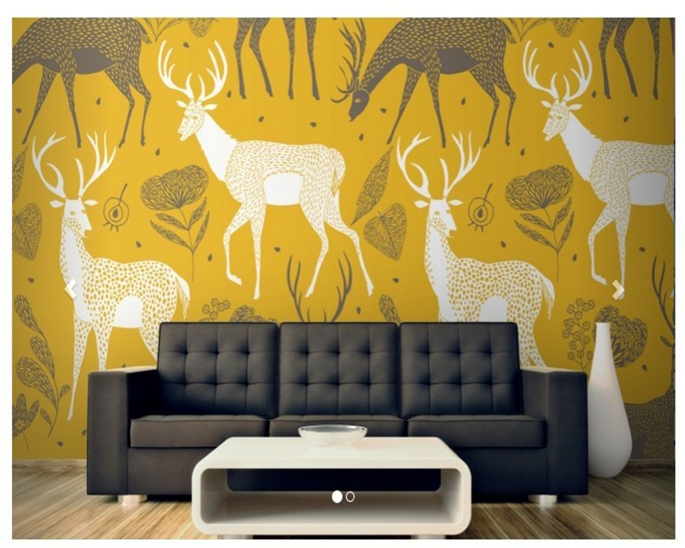 Customized children wallpaper, White Deer Wallpaper Mural for the living room bedroom sofa background wallpaper Home Decoration free shipping cartoon pattern wallpaper leisure bar ktv lounge living room sofa children room background comics wallpaper mural