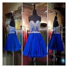 2016 Vintage A-Line Liebsten Lace-Up Zurück Royal Blue Abendkleid Mit Perlen Kurze Abendkleid Benutzerdefinierte Homecoming Kleider