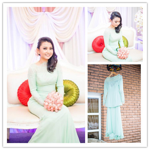 Muslim islamic Wedding Dresses With Long Sleeve High neck Mermaid Mint Green Arab Engage Wedding Gowns abito da sposa rosa