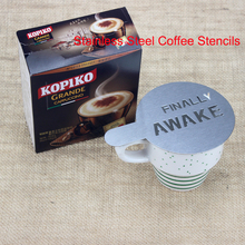 BEEMSK 6pcs/lot Stainless Steel Metal Chocolate DIY Coffee Latte Art Mould Cappuccino Stencils Barista Tools 100mm