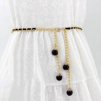 ¡Novedad de 2019! Cinturón de cadena de Metal Retro para mujer, cinturón para vestido Cuerpo Dorado, cinturones de cadena con perlas, accesorios para mujer